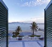 View from a window at the Port de Pollenca in northern Majorca - — Stock Photo