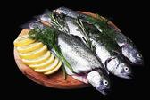 Cooking trout fish with lemon. — Foto de Stock