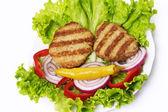 Meat cutlet with vegetable salad — Foto de Stock