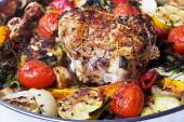 Roulade with meat with vegetables and spices. — Stock Photo