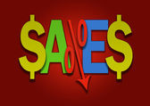 Colored sales bargain lower percent price goes down — 图库照片
