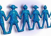 Team holding hands keywords teamwork better together — Stock Photo