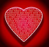 Red love heart for valentine day typography — Φωτογραφία Αρχείου