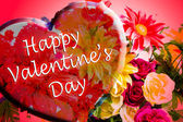 Happy valentine's day flowers with heart — Stock Photo