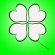 Four leaf clover in green made of hearts — Stock Photo #62985095