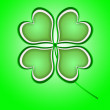 Four leaf clover in green made of hearts — Stock Photo #62985147