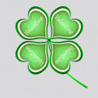 Four leaf clover in green made of hearts — Stock Photo #62986489