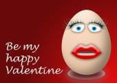 Happy valentines day funny egg face — Stock Photo