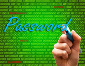 Marker hand writing protect password cyber crime caution binary text — Foto Stock