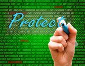 写保护密码网络犯罪谨慎二进制文本标记手 — 图库照片
