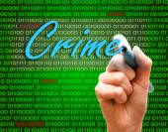 Mano de marcador escribir proteger texto binario de contraseña cyber crimen Precaución — Foto de Stock