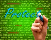 Protect password login virus hackers hand binary text — Stock Photo
