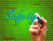 Safety password login virus hackers hand binary text — ストック写真