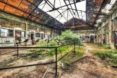 Dilapidated warehouse in an abandoned coal mine — Stock Photo