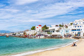 Typical whitewashed homes along the port area in Mykonos — Stock Photo