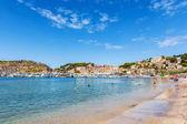 Beach and harbour of Puerto de Soller — Stock Photo