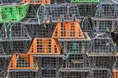 Stacked lobster and crab traps in the port of Santa Luzia — Foto de Stock