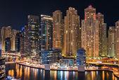 Dubai Marina illuminated at night — Stock Photo