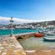 Port of Hora with colorful fishing boats on the Greek Island of — Stock Photo #65522437