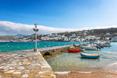Port of Hora with colorful fishing boats on the Greek Island of — Stock Photo