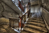 Derelict stairwell in an abandoned building — Stock Photo