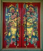 Chinese Guardians on temple door, 7 December 2014, Udon-Thani , — ストック写真