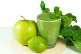 Healthy green vegetable  smoothie with apples,spinach,cucumber,l — Stock Photo