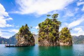 Three rocks in Cheow Lan Lake. — Stock Photo