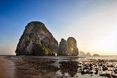 Sunset on Krabi. Phra Nang Beach, Thailand — Stock Photo