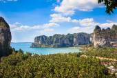 Aerial panoramic view from cliff on Railay beach — Stock Photo