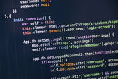 Javascript code on computer screen — Stock Photo