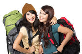 Happy two young girl going on vacation — Stock Photo
