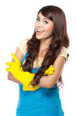 Young woman ready to do some cleaning.  — Stock Photo