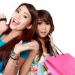 Close up two beautiful woman friend with many shopping bags — Stock Photo #59460845