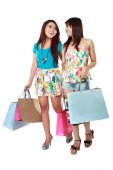 Happy two shopping girl holding bags  — Stock fotografie
