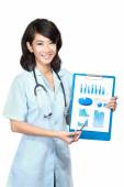 Woman doctor presenting documents — Stock Photo