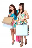 Happy shopping two girl holding bags  — Stock Photo