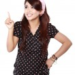 Happy Woman pointing up — Stock Photo #59487739