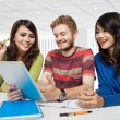 Group of diversity students studying using tablet pc — Stock Photo #63485845