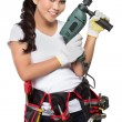 Pretty young woman construction worker — Stock Photo #66378231