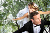 Newlywed couple happy together — Stock Photo