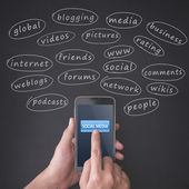 Finger pressing a smartphone with social media concept — Stock Photo