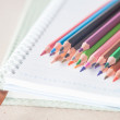 Closeup colorful pencil crayons on spiral notebook and green not — Stock Photo #54372461