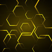 Abstract background with yellow hexagon — Stockvektor