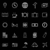 Travel line icons on black background — Stock Vector