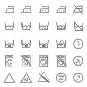 Laundry line icons on white background — Stock Vector