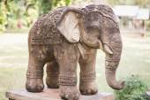 Elephant clay doll decorated in garden — Stock Photo