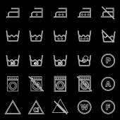 Laundry line icons on black background — Stock Vector