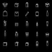 Packaging line icons with reflect on black background — Stock Vector