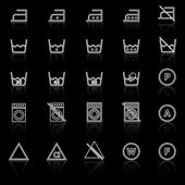 Laundry line icons with reflect on black background — Stock Vector